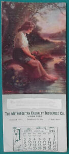 INK-BLOTTER-AUGUST-1914-Metropolitan-Casualty-NY-amp-Lovely-Maiden-Brook-Pensive