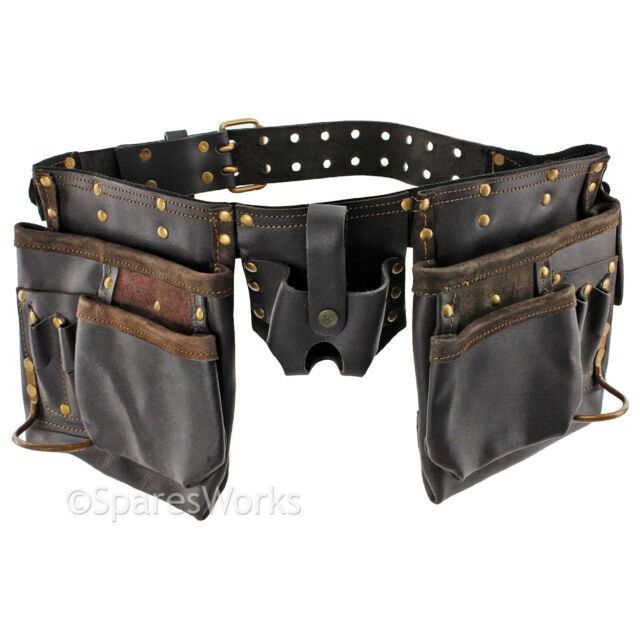 12 Pocket Double Oil Tanned Toolbelt Leather Tool Belt Nails Pouch for Joiners