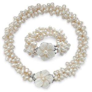 Genuine Cultured Freshwater Pearl 2-Piece Set in Silvertone