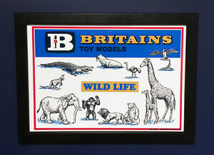 Britains-Toy-Models-1962-Wild-Life-Zoo-Animals-Framed-A4-Size-Poster-Shop-Sign