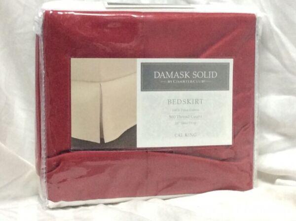 100% Kwaliteit Charter Club Damask Solid 500tc Cal King Red Bedskirt Nip Aangename Zoetheid