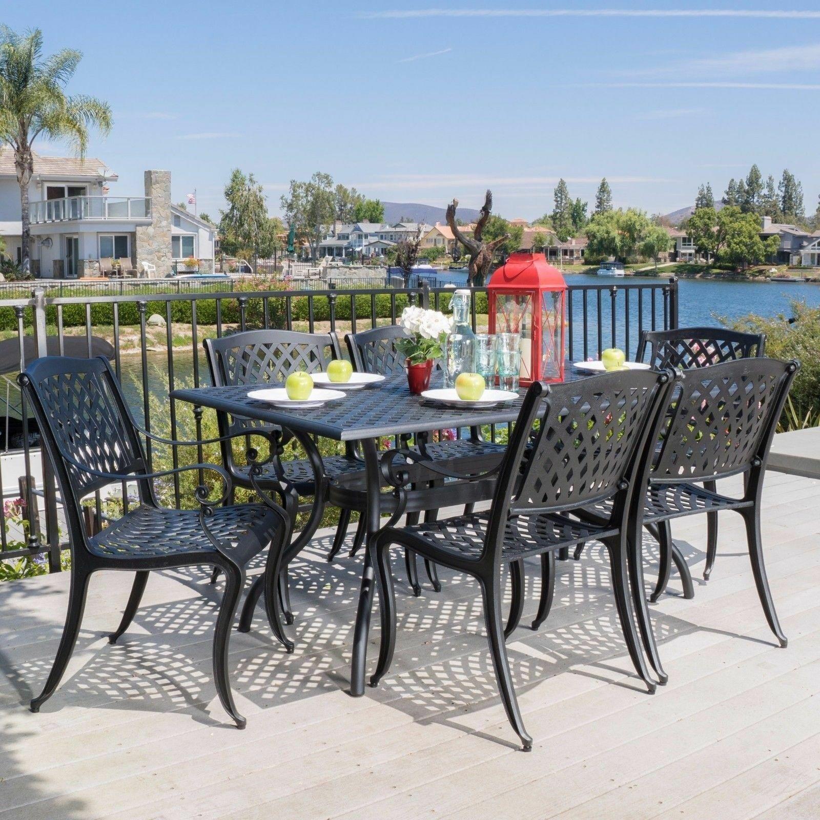 Marietta 10 piece Black Cast Aluminum Outdoor Dining Set