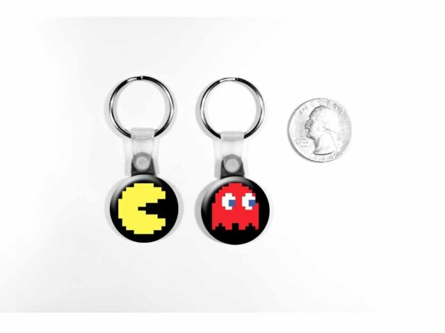 Pac-Man Retro Video Game Arcade Ghost Red Blinky Set of 2 Key Chains