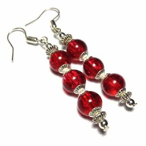 Red-Earrings-Vintage-Style-Drop-Glass-Beads-Studs-Clip-on-or-925-Silver-Hooks