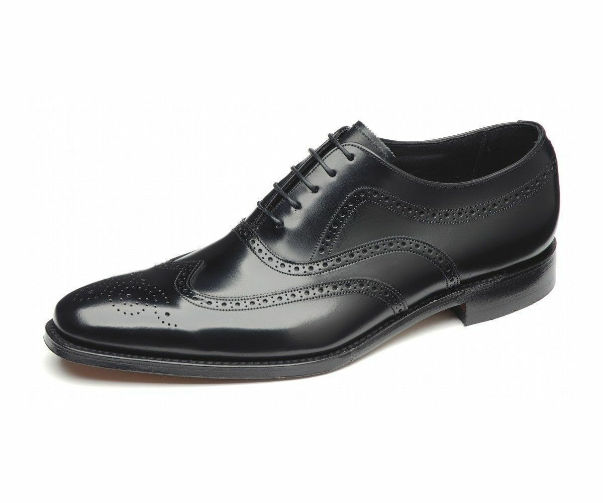 Venta de liquidación de temporada Loake Jones Caballeros Negro Formal Smart Zapatos