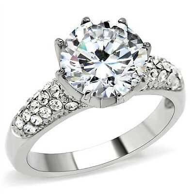 Large Solitaire Ring 3.87 CTW CZ Stainless Steel Engagement Pave Accents