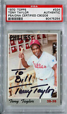 1970 Topps TONY TAYLOR Signed Auto Slabbed Card #324 Red Flip Phillies PSA/DNA