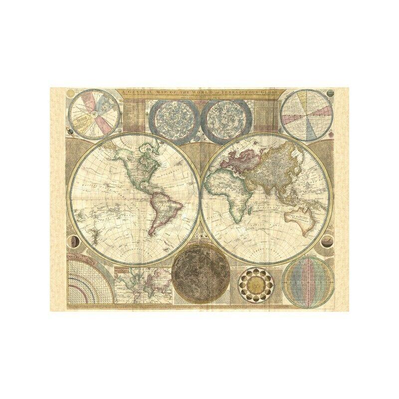 Quadro su Pannello in Legno MDF MDF MDF Samuel Dunn Double hemisphere map of the world, | Vente En Ligne  0f55fa