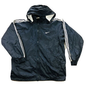Nike-White-Tag-Vintage-Mens-XL-Blue-Swoosh-Spell-Out-Lined-Windbreaker-Jacket