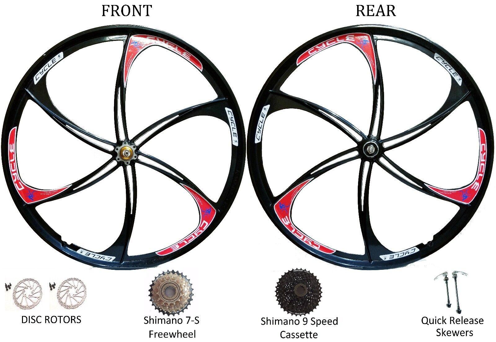 26  MTB Bike 6-Spoke Mag Magnesium Wheels Rim Wheelset 6 7 8 9 Speed Gears Disc