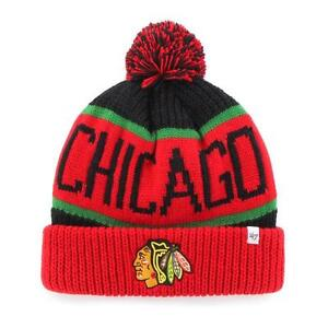 promo code f44e9 13a87 Image is loading Chicago-Blackhawks-47-Brand-Calgary-Cuff-Knit-Hat-