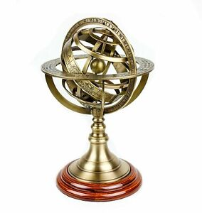 Antique-Vintage-Armillary-Brass-Sphere-Globe-Wooden-Display-5-Inch