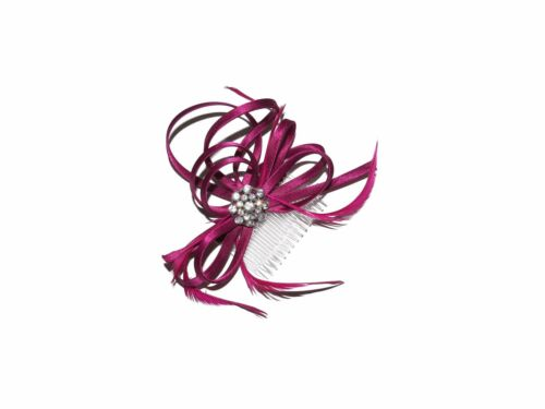 **NEW** GOLD BLACK BURGUNDY CRYSTAL HAIR ON CLEAR COMB FASCINATOR WEDDINGS RACES
