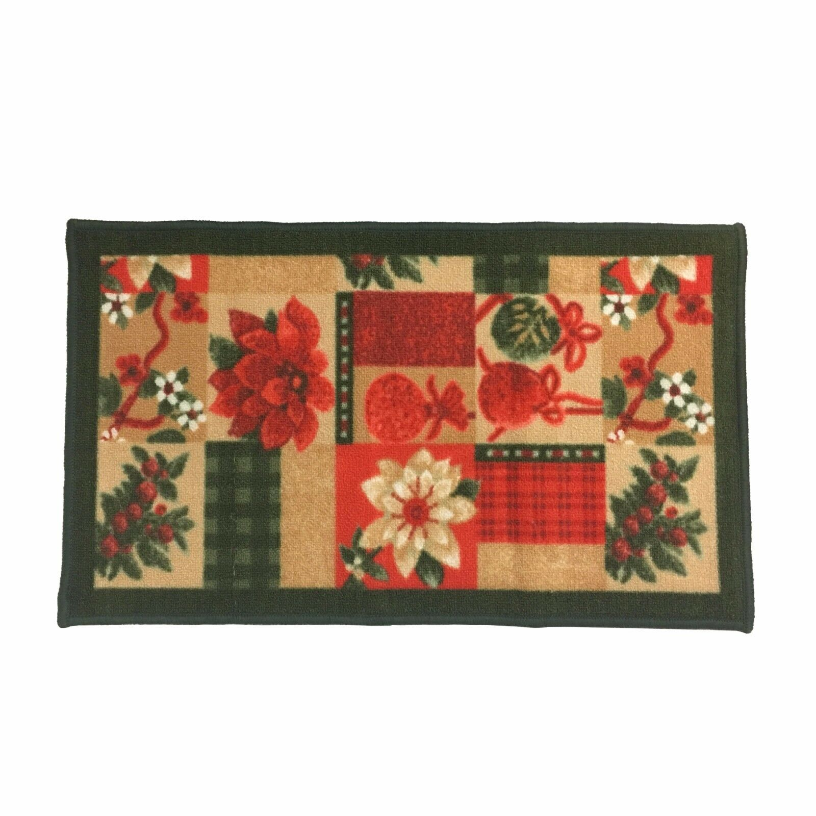 Details About Christmas Design Kitchen Rug Latex Back Santa Reindeer Snowman Poinsettia