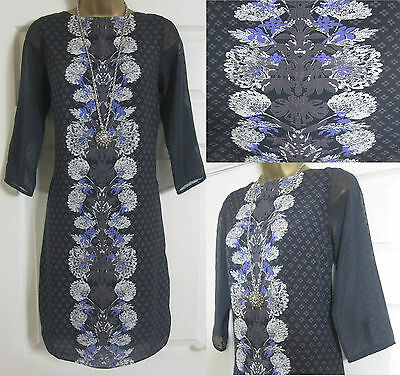 NEW EX WHITE STUFF SHIFT TUNIC PARTY EVENING DRESS FLORAL BLACK PURPLE SIZE 8-18