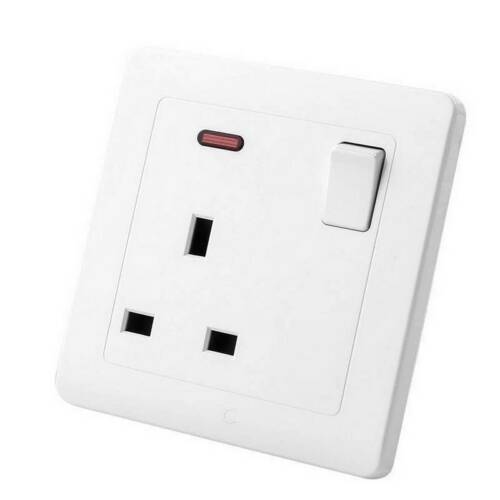 Double Wall UK Plug Socket 2 Gang 13A with 2 USB Charger Port Outlet Plate UK`