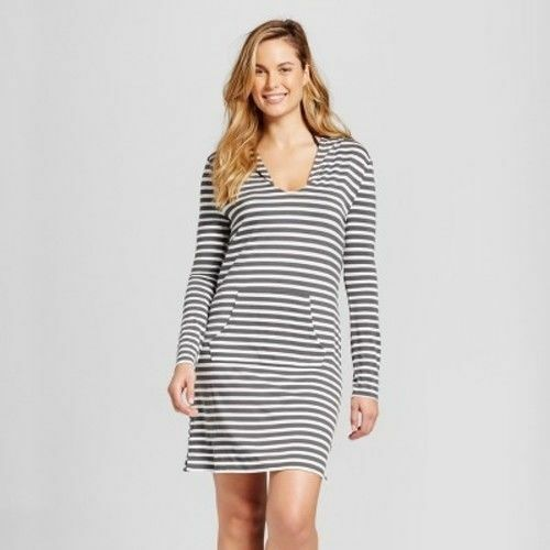 Merona Grey Striped Hoodie Long Sleeve Cover Up Dress For Swimsuit