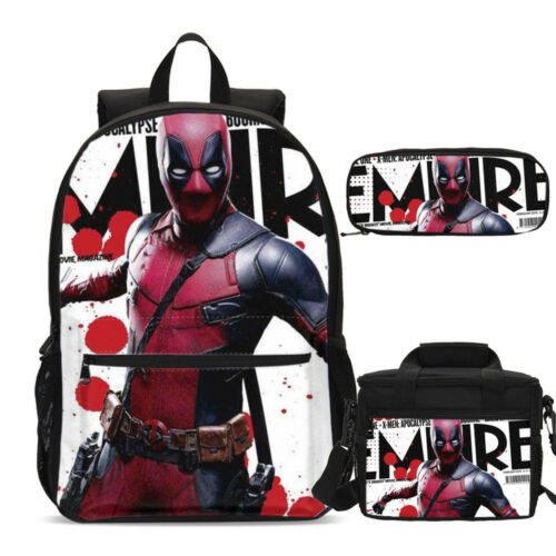 Deadpool Marvel Comics Backpack Insulated Lunch Box Shoulder Bag Pencil Case Lot
