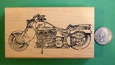 Huge Motorcycle, Harley-Davidson, wood mounted rubber stamp