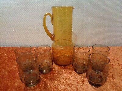 Kraftvoll Glas Design Saftkrug + 6 X Glas - Schliffdekor - Handarbeit - Vintage - Um 1970 Gute WäRmeerhaltung