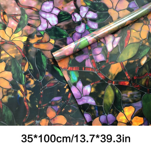 Static Cling Frosted Stained Flower Glass Window Film Sticker Privacy Decor
