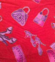 Red Purple Fabric Shoes Gloves Purses Gold Trim Marcus 42 W By The Yard 36