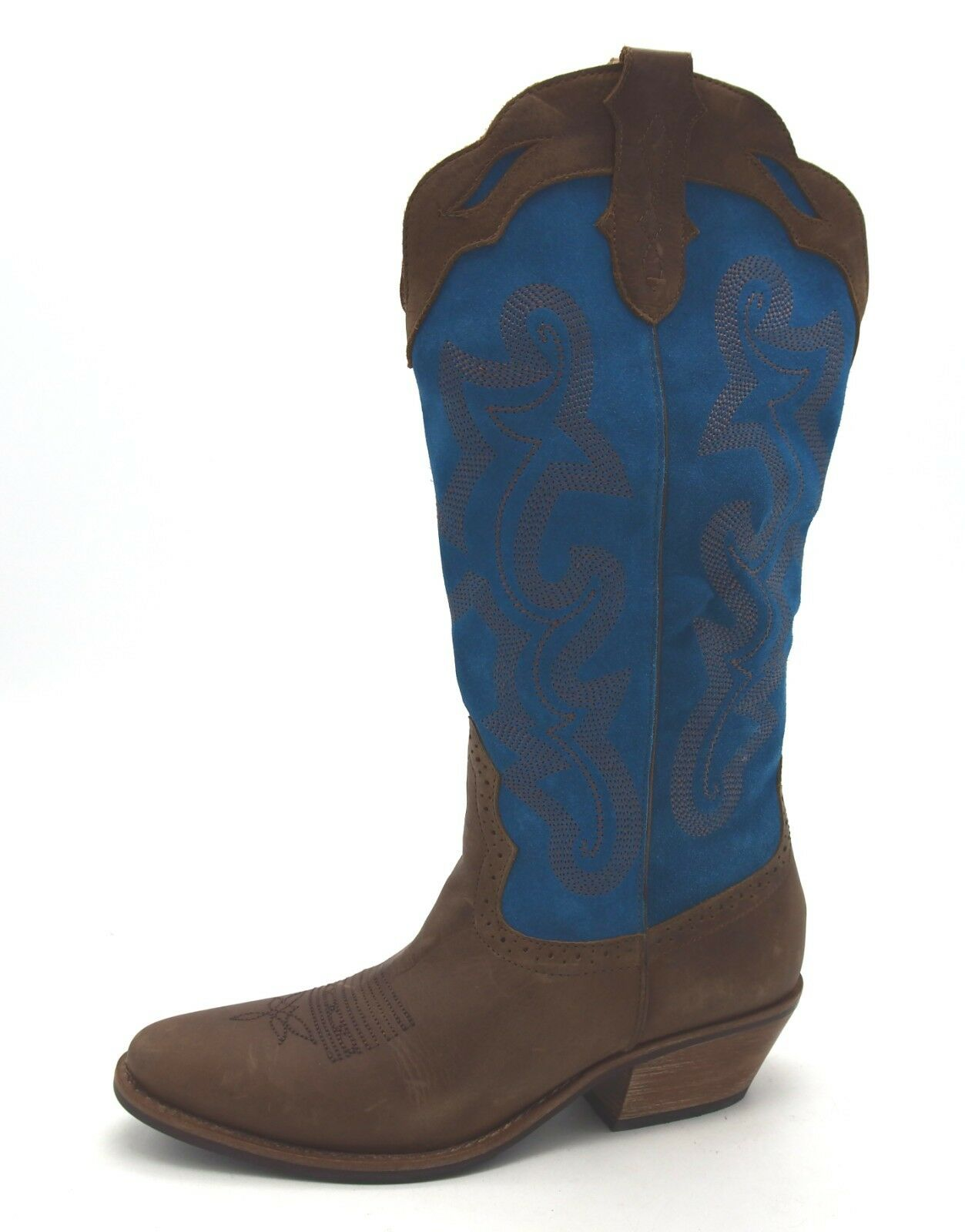 J6957 New Women's Diego Di Di Di Lucca Samara Brown Teal Leather Cowboy Boot 10 M e21e7b