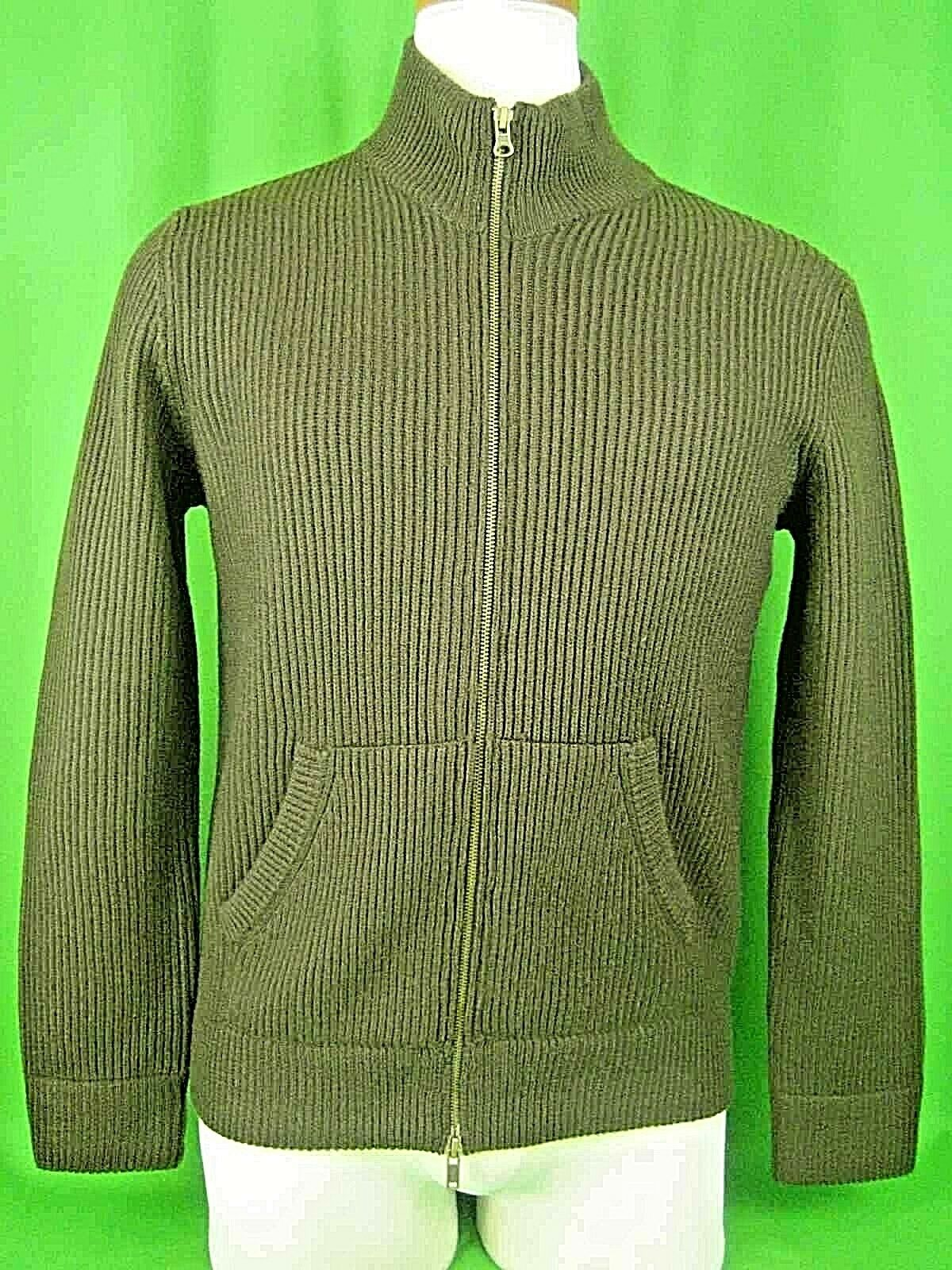 VINCE Brown Wool Ribbed Knit NEW Zip Front Cardigan Sweater M   325