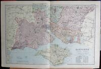 1896 LARGE VICTORIAN MAP -HAMPSHIRE SOUTH ISLE OF WIGHT SOUTHAMPTON ROMSEY