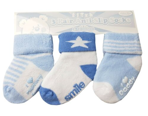 Baby Boys Girls 3 Pack Anti-Slip Terry Socks  With Rubber Printed Sole NB-12 S60