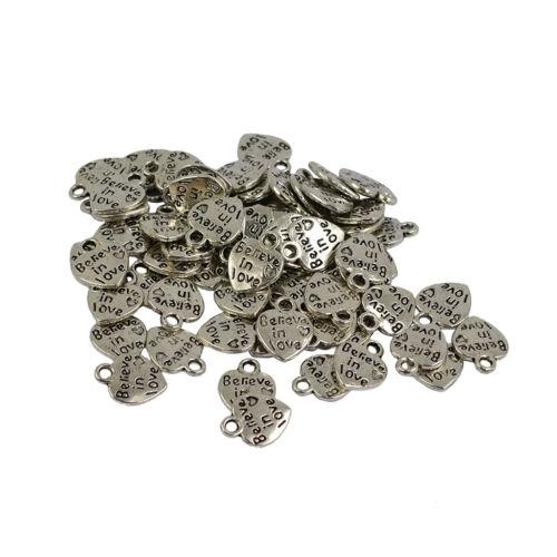 50pcs Tibetan Silver Believe In Love Coeur Charms Pendentifs Bijoux Making