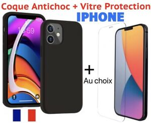Coque Gel iPhone 12 11 Pro max X XS Max XR 8 7 6 + Vitre Protection verre trempe