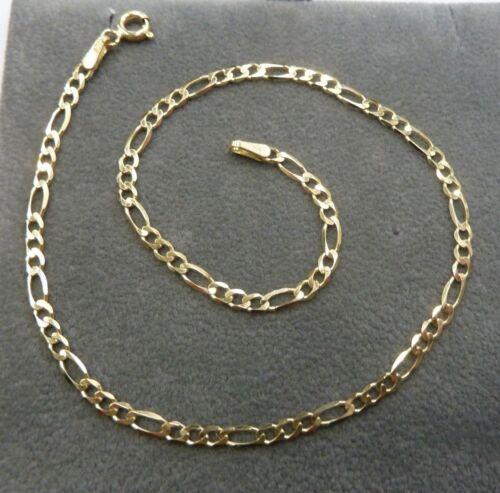 1.6 gramos 9ct Solid Gold Figaro Cadena Tobillera 25cm de largo
