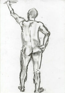 Set-of-Five-20th-Century-Charcoal-Drawing-Figure-Studies