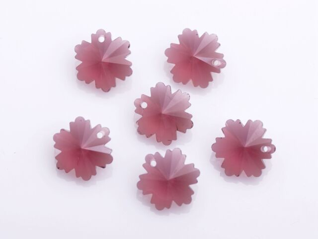 10pcs 14mm Snowflake Flower Loose Faceted Glass Pendants Beads Craft Red Purple