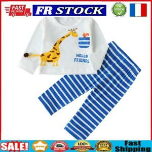 Autumn Toddler Long Sleeve T-shirt Tops Stripe Pants Clothes Set (3-6M)