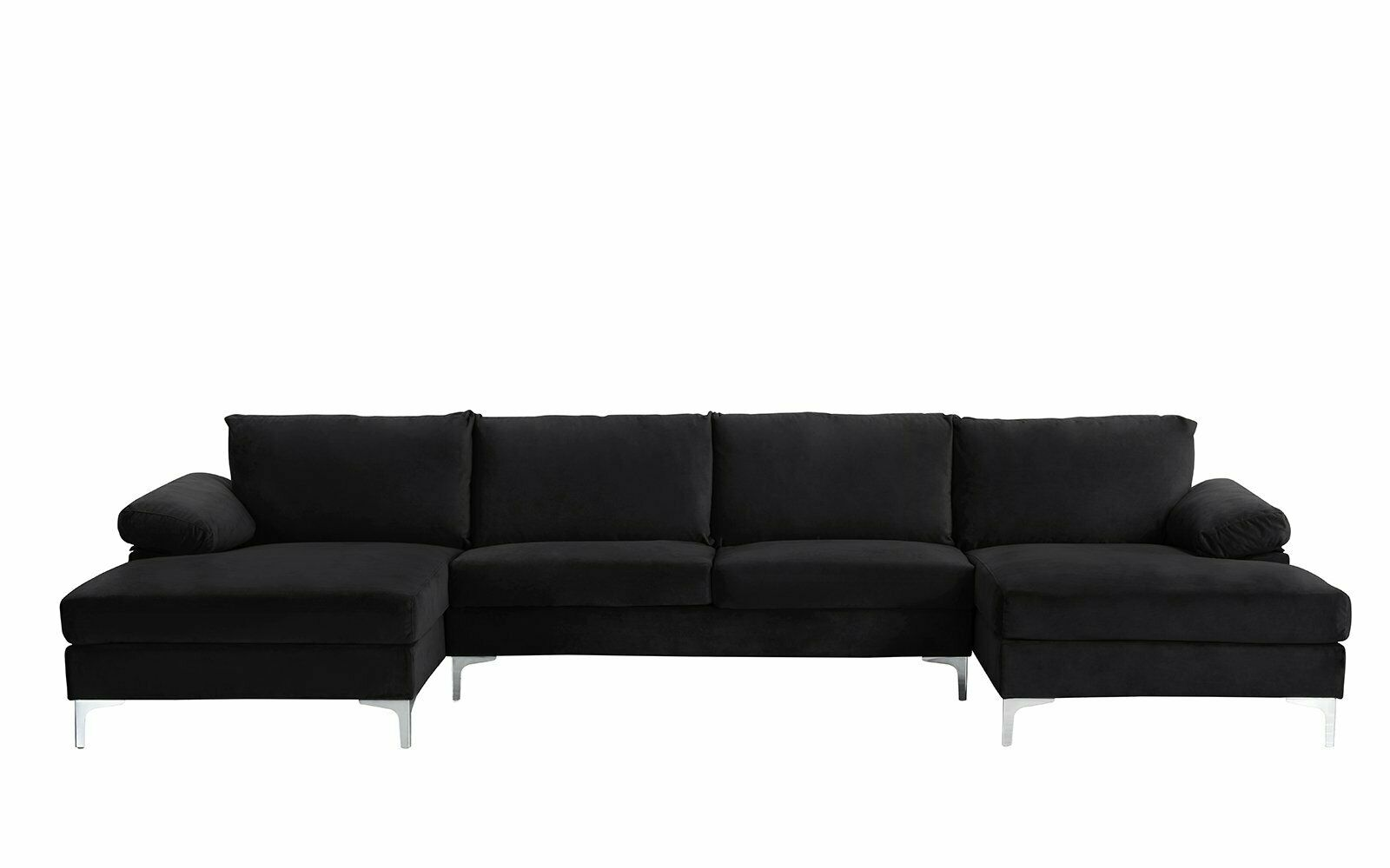 Picture of: Upholstered Black Velvet Scroll Arm Indoor Large Chaise Lounge Nailhead Trim For Sale Online Ebay