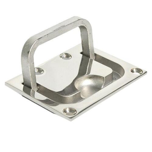 Boat Ring Handle Flush Hatch Locker Cabinet Pull Lift Stainless Steel 76 x 56mm