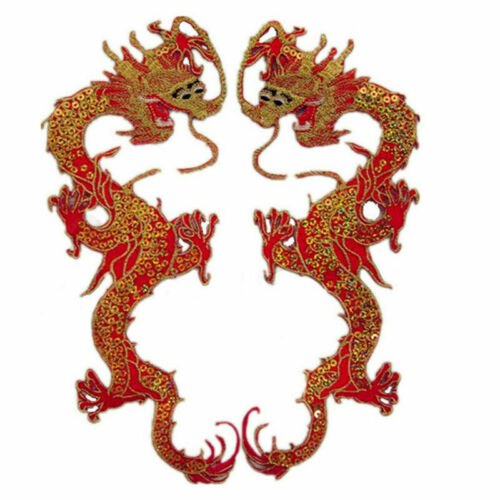 Classical Chinese Dragon Embroidered Patches Sequin Embroidery Sew Appliques