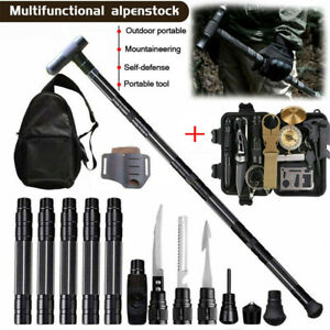Tactical Trekking Poles Survival Gear Kit Walking Stick Alpenstock Camping Hikng