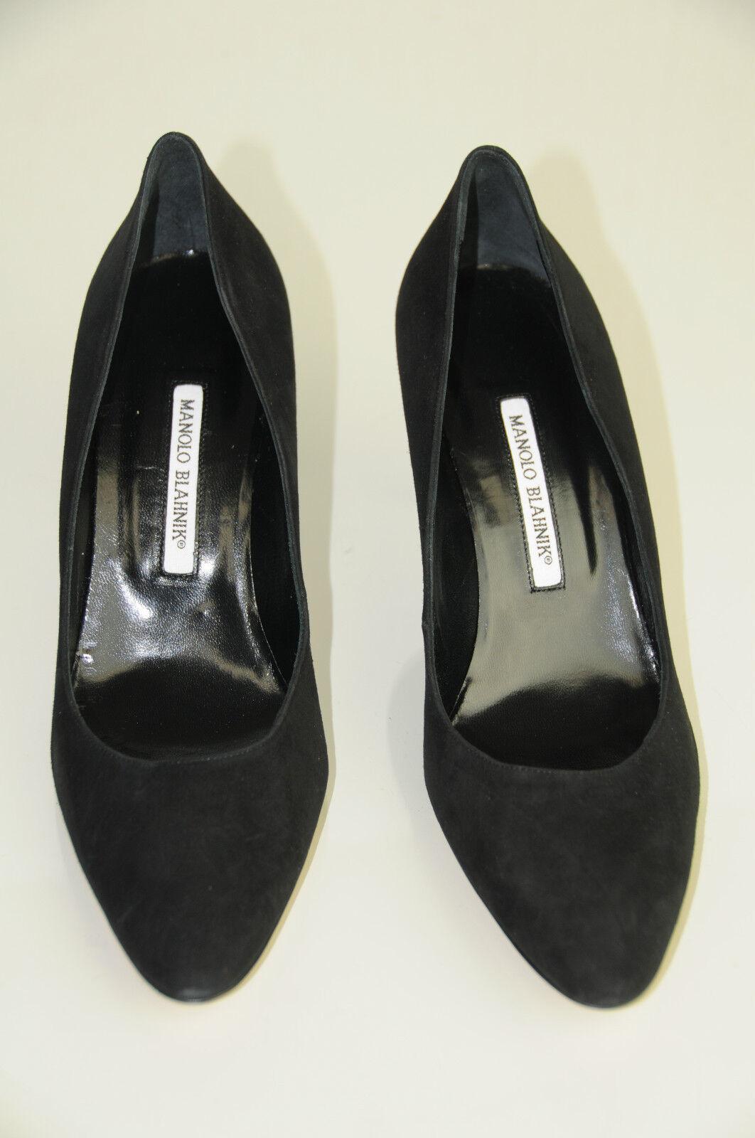 Neu Manolo Blahnik Bb 90 Mandel Zeh Schwarzes Veloursleder Schuhe Schuhe Schuhe Absätze Pumps 201be2