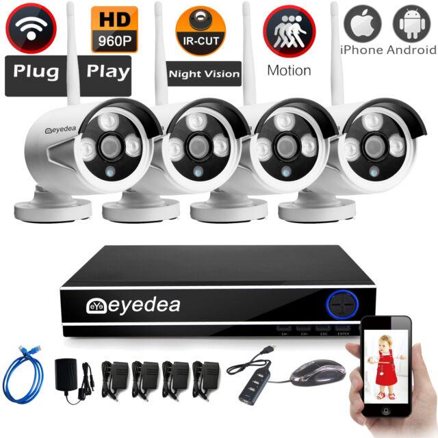 Eyedea WiFi Wireless 1080P NVR 5500TVL Cameras Night Vision CCTV Security System