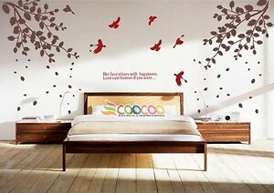 Details About Wall Decor Decal Sticker Vinyl Tree Branches Leaves Birds Large Size Dc315lg