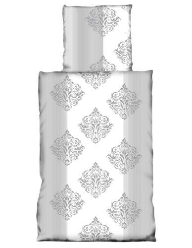 2 tlg Bettwäsche 155x220cm Ornamente grau weiß Übergröße Baumwolle NEU