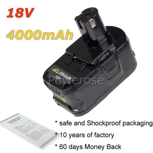 4.0Ah 18V Battery BPP-1815 BPP-1817M BPP-1820 For Ryobi ONE Plus 1322401 18 Volt
