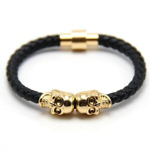 fashion customize leather magnetic wrap skull rope braided mens