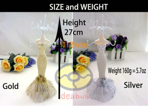 """10.5/""""tall Mannequin Dress Earring Necklace Ring Jewelry Holder Stand Display"""