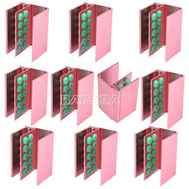 CA 10 Set Dental Burs Holder 10 Holes with Silicon For FG RA Bur Pink