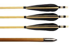 Whole wooden arrows silver arrow head black turkey feathers 32 quot ebay