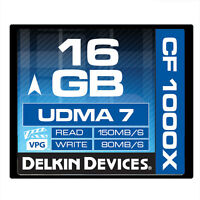 Delkin 16gb Cf Memory Card 1000x Udma 7 80mb/s Write ->lifetime Warranty
